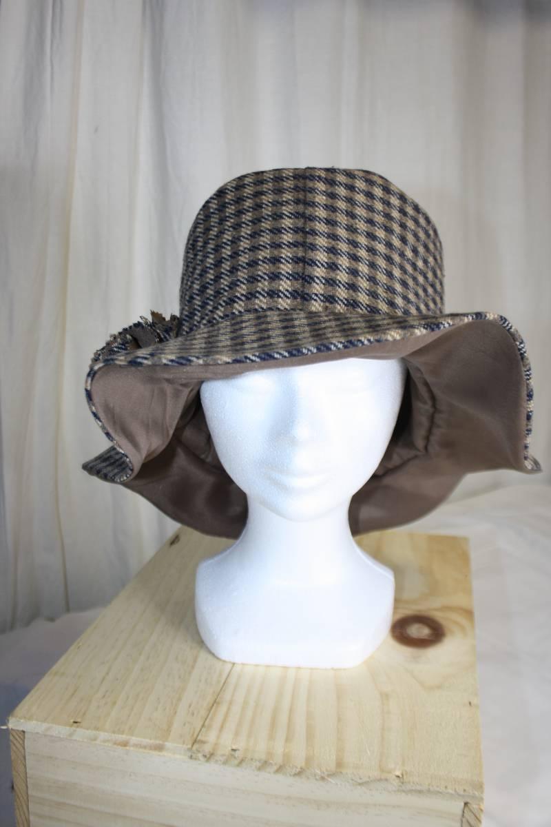 Chapeau Honfleur - Tissu issue d'une ancienne veste